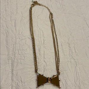 Betsey Johnson Triple Chained Brown Bow Necklace